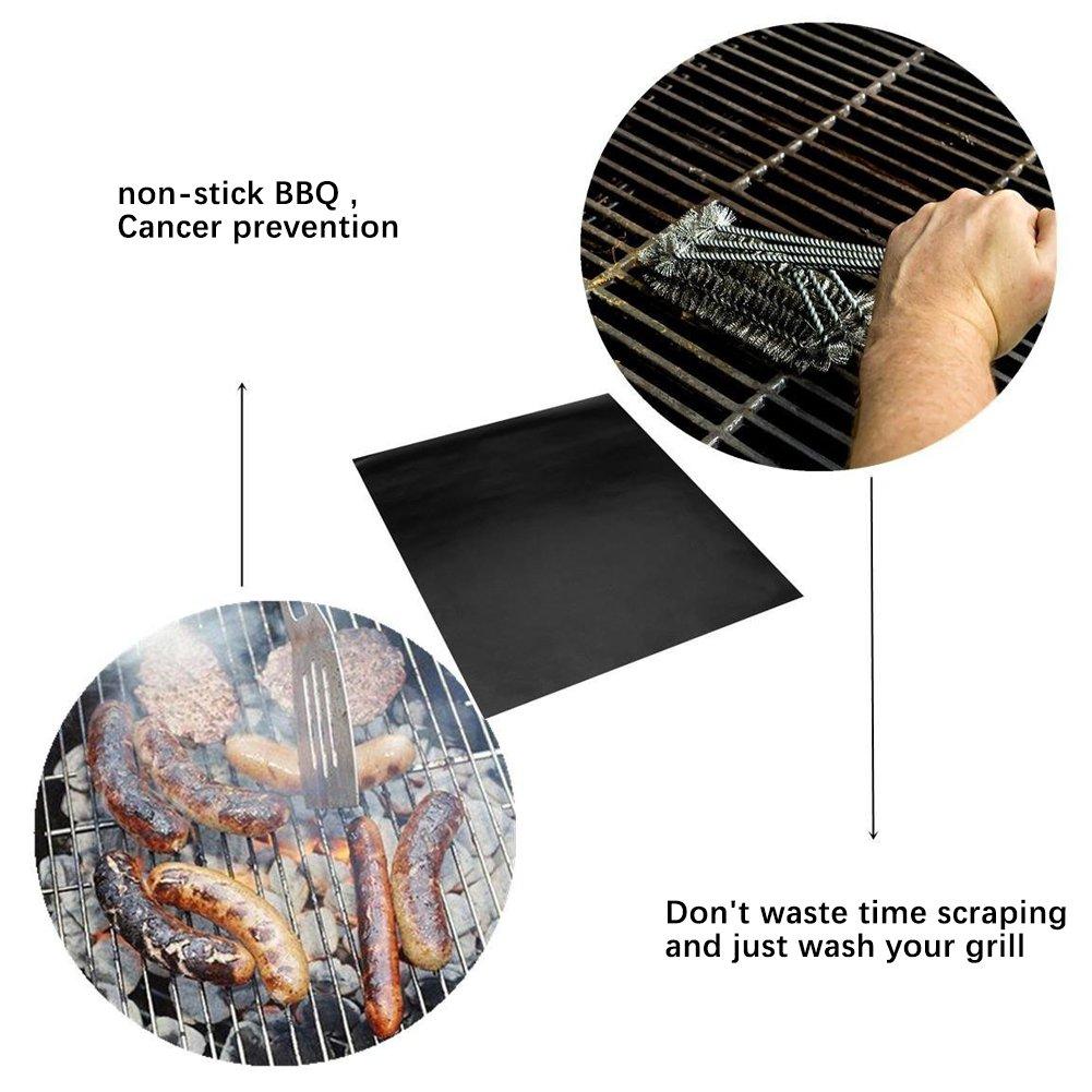 Grill Mat Set de 5 toocoo 100% antiadherente para barbacoa parrilla horno alfombrillas aprobado por la FDA, PFOA libre, reutilizable y fácil de limpiar ...