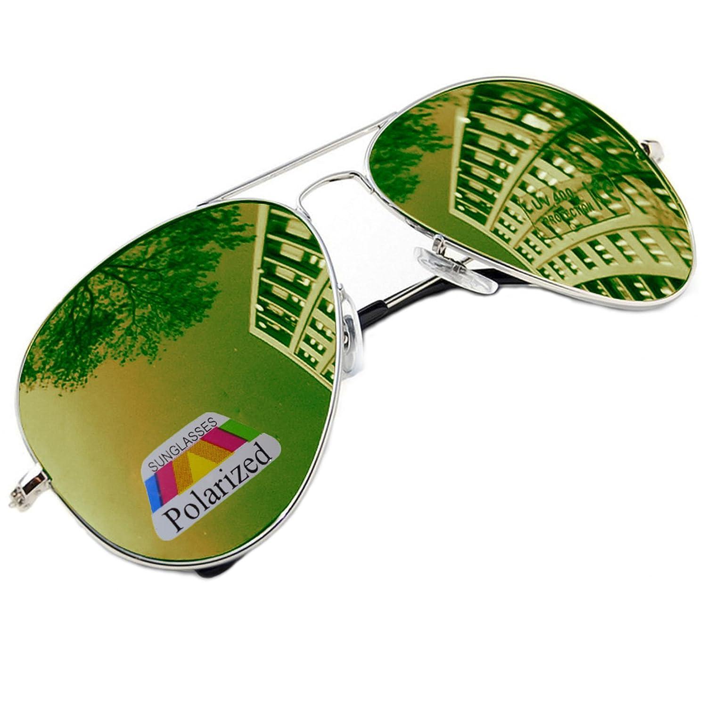 Gafas de sol estilo piloto, gafas de espejo a la moda, unisex, diversos colores de Morefaz Ltd Aviator Green Polarized Regular