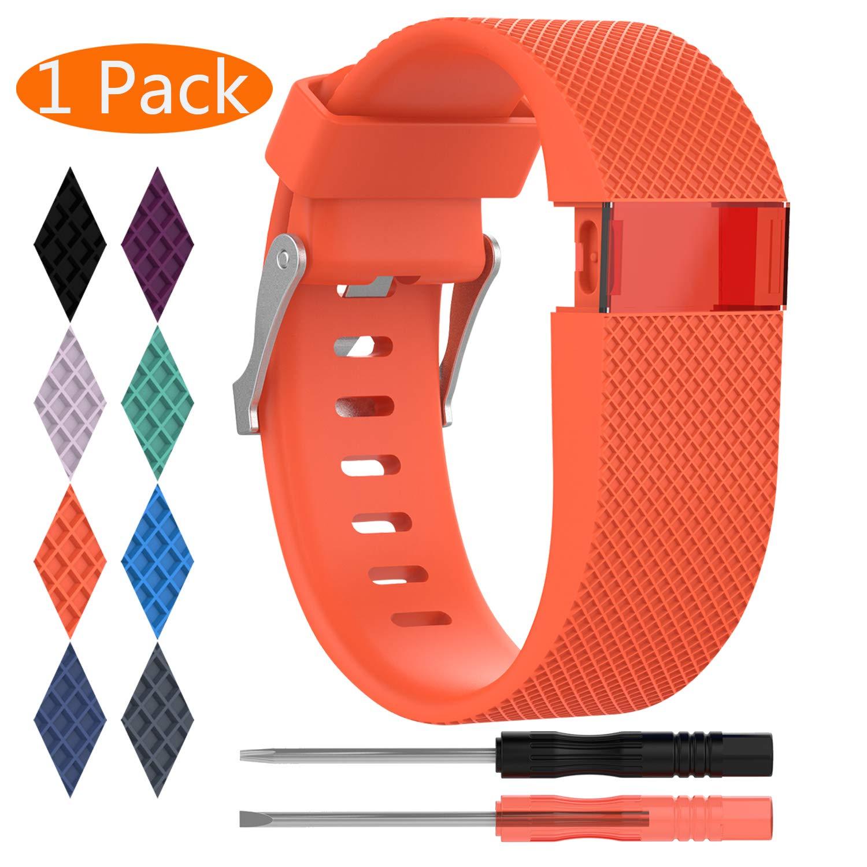 Fitbit Charge HR帯、kingaccシリコンアクセサリー交換バンドFitbit Charge HR Charge HR 1、、メタルバックルフィットネスリストバンドストラップレディースメンズLarge Smallブラック、オレンジ、グレー、ブルー、パープル Small(5.4\ D# 1-Pack Tangerine B079NVXYGR