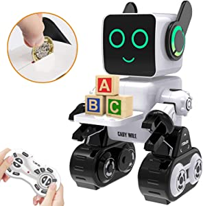 HBUDS Robots for Kids, Remote Control Robot Toy Intelligent Interactive Robot LED Light Speaks Dance Moves Built-in Coin Bank Programmable Rechargeable RC Robot Kit (White)