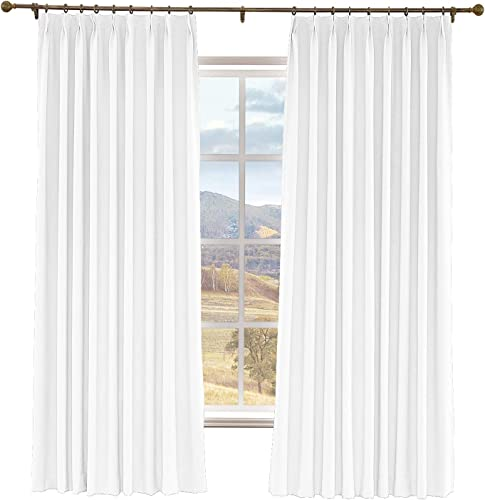 Drapifytex Pinch Pleat Drapery Faux Linen Room Darkening Curtain for Living Room Panel, Ivory White, 150 Inches Width by 96 Inches Length