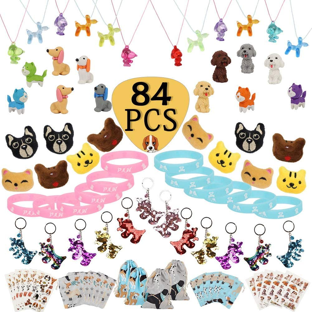 84 Pcs Dog Paw Party Favos Set Toy Pack- Dog Brooch Necklace Keychain Luminous Bracelet Tattoo Sticker Erasers Puppy Gift Bag for Kids Birthday Goody Bags Animal Theme Supplies