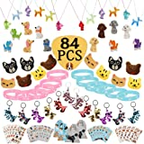 84 Pcs Dog Paw Party Favos Set Toy Pack- Dog Brooch Necklace Keychain Luminous Bracelet Tattoo Sticker Erasers Puppy Gift Bag
