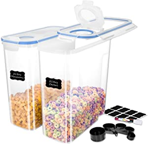 ME.FAN EXTRA LARGE Cereal Storage Containers [Set of 2] Airtight Food Storage Containers 6.3L(213oz) - Large Kitchen Storage Keeper with 24 Chalkboard Labels & Pen - Easy Pouring Lid (Blue)