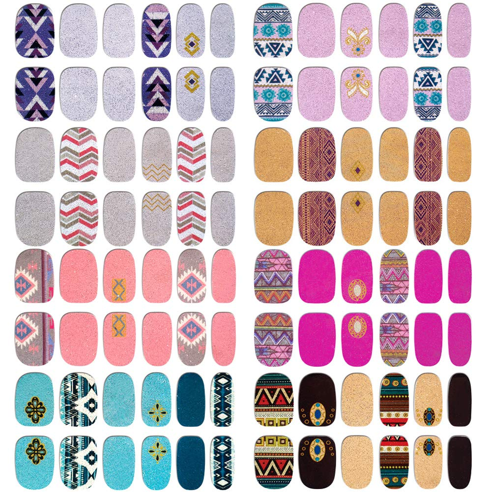 Comdoit Nail Polish Strips Nail Wraps for Women 8 Sheets Full Nail Stickers Color Glitter Nail Polish Stickers Adhesive Nail Decals Design Manicure Set DIY Fingernail Decorations Nail Art Supplies by Comdoit