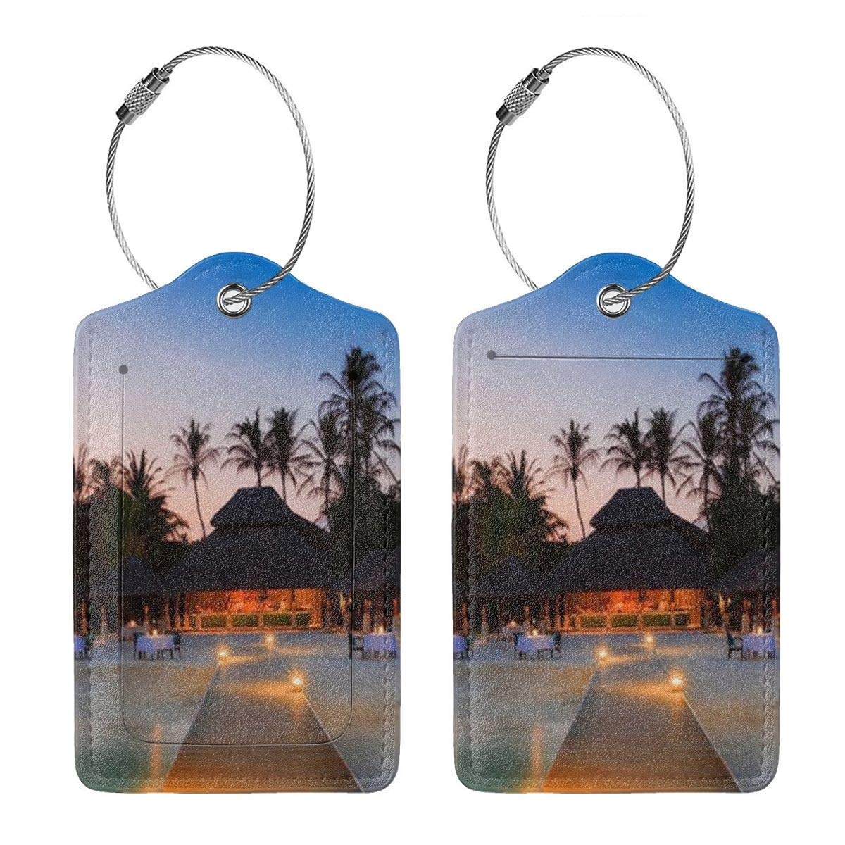 Seaside Resort Luggage Tag Label Travel Bag Label With Privacy Cover Luggage Tag Leather Personalized Suitcase Tag Travel Accessories
