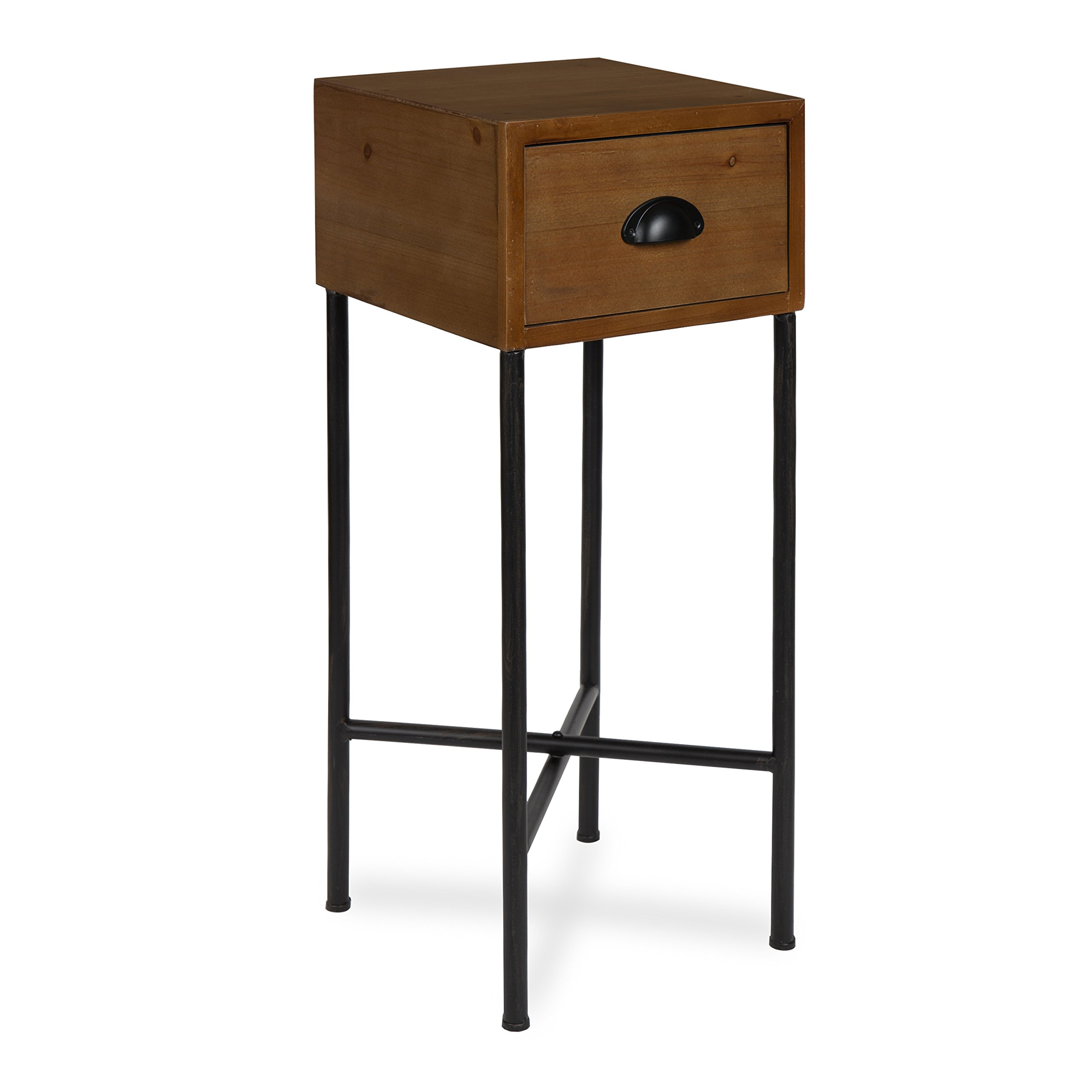 Kate and Laurel Decklyn Wood Side Accent Table with Drawer, Rustic Brown