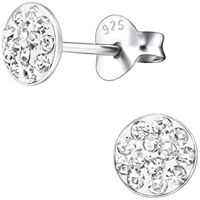 0face436a Jayare Flat Round 925 Sterling Silver 5 mm Stud Earrings Set With 26  Glitter Girls Children's