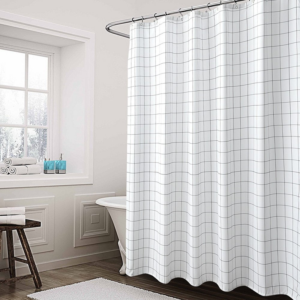Yunno Shower Curtain,Mildew Resistant and Waterproof,72 X 72 inch,Washable (Grid)