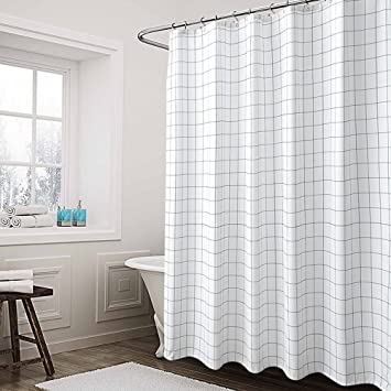 Shower CurtainMildew Resistant And Waterproof72 X 72 InchWashable Grid