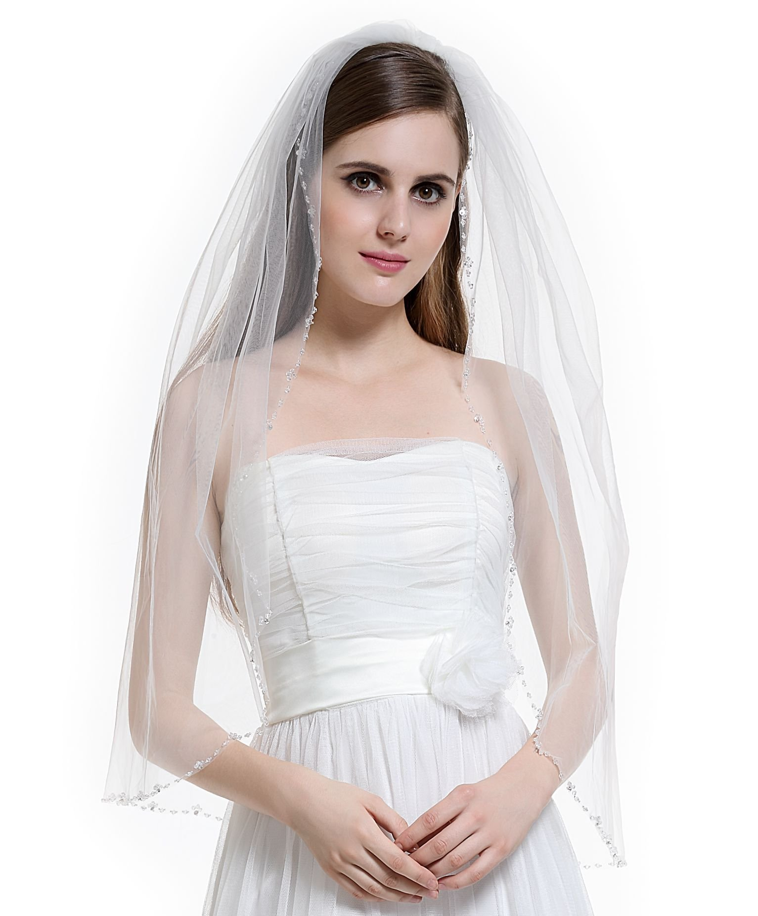 1T Bridal Wedding Veil with Comb Crystals Beaded Edge-V57(White)