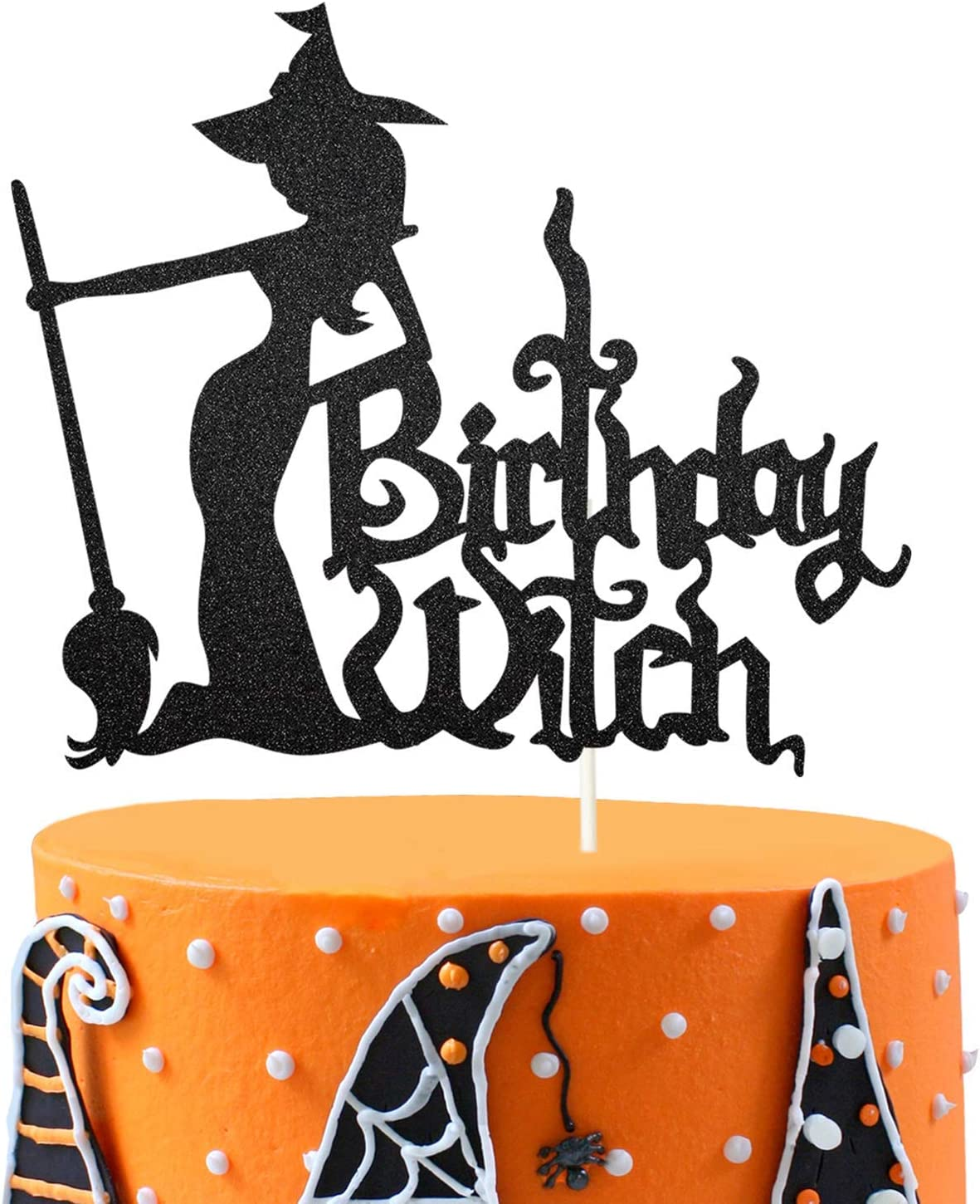 Birthday Witch Cake Topper, Witch Cake Topper, Happy Birthday Witch Decor for Girl's Birthday Halloween Party Decoration Supplies
