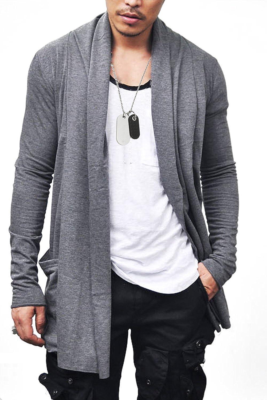 Bosbary Mens Long Cardigan Ruffle Shawl Collar Lightweight Drape Cape Casual Knitwear