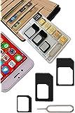 【 紛失防止 クレカより薄い SIM カード ケース ホルダー 日本製 】スキマに入る 変換 アダプタ イジェクトピン 4点セット SilverCoral (ブラック (収納量 NanoSIM5枚 & MicroSD1枚))