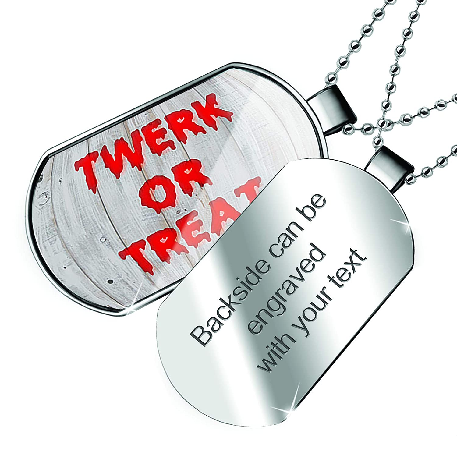 NEONBLOND Personalized Name Engraved Twerk or Treat Halloween Bloody Wall Dogtag Necklace