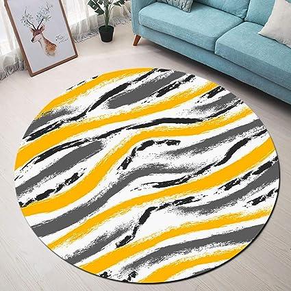 lb abstrait tapis rond rayures jaune noir gris blanc moquette absorbant souple carpette pour salon chambre vestiaire salle de bains tapis de chien