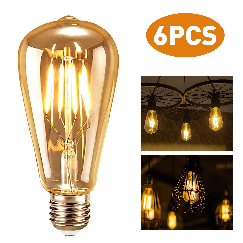 tronisky Edison Ampoule Vintage, Lot de 6 Edison LED Vintage Ampoule E27 4W Décorative Antique Filament Rétro Lampe Lumière Blanc Chaud, Idéal pour l'éclairage Rétro et Nostalgique [Classe énergétique A+]