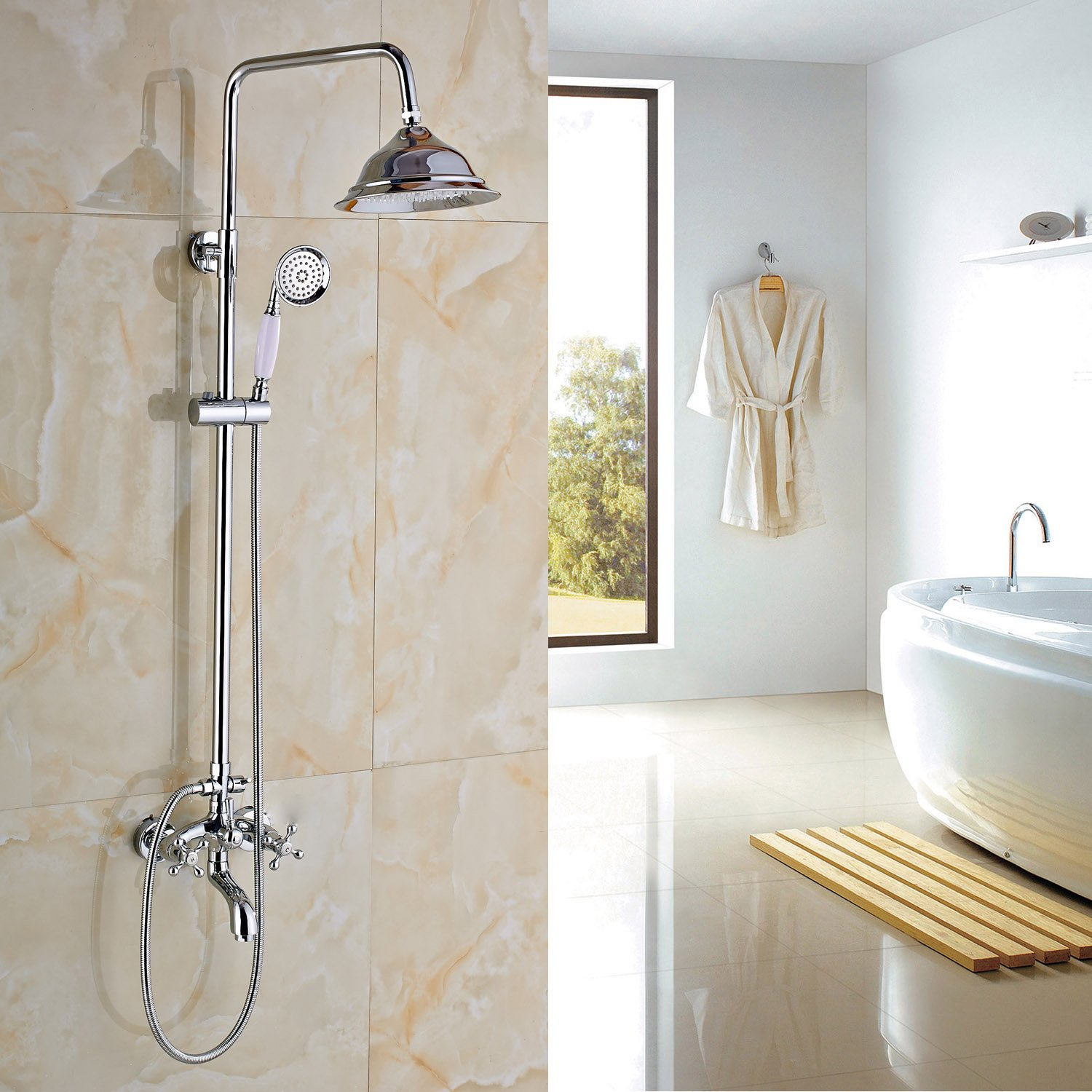 Rozin Chrome Finish Rainfall Tub Shower Faucet Set with Hand Spray ...