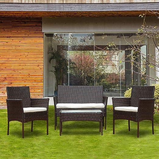 BOJU - Juego de 4 sillas y Mesa de ratán para jardín, Incluye 2 sillones y 2 Asientos de Cristal, marrón: Amazon.es: Jardín
