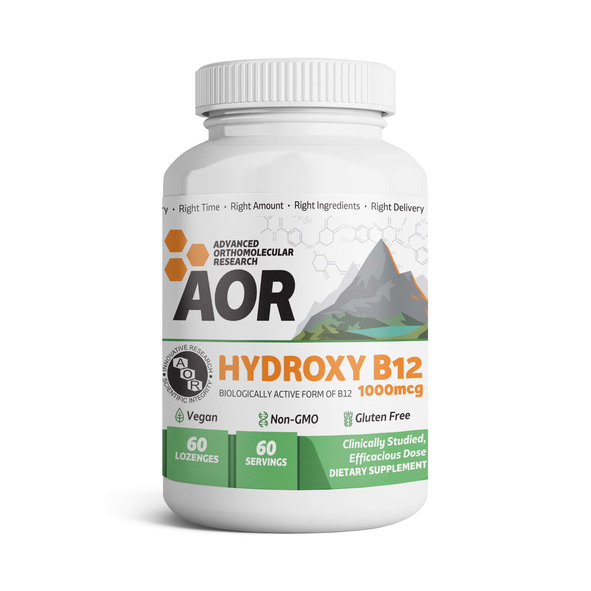 AOR - Hydroxy B12, Methylation Support for Brain, Nerve Health, and Detoxification with Activated B12, Vegan, Non-GMO, Gluten-Free, 60 Lozenges