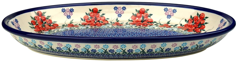 Ceramika Boleslawiecka Kalich Polish 手描き 楕円形サービングプラッター 14.25インチ x 9インチ  Red Currant B07MJRLXS4