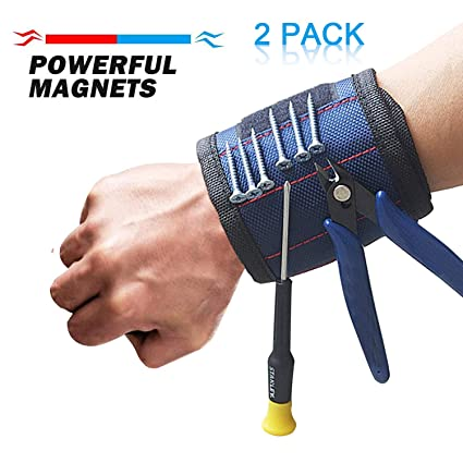 Tool Sets Strong Magnet Wristband Tool Adjustable Tool Wrist Band For Screws Nail Nuts Bolts Hand Free Drill Bit Holder Magnet*5