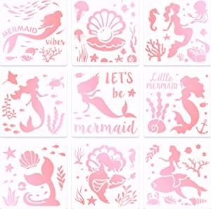 9 Pieces Mermaid Stencils 8 Inches Pearl, Shell, Seahorse, Jellyfish, Mermaid Theme Painting Template for Art Card Making Log Scrapbook DIY Furniture Wall Floor Paintings on Wood Fabric