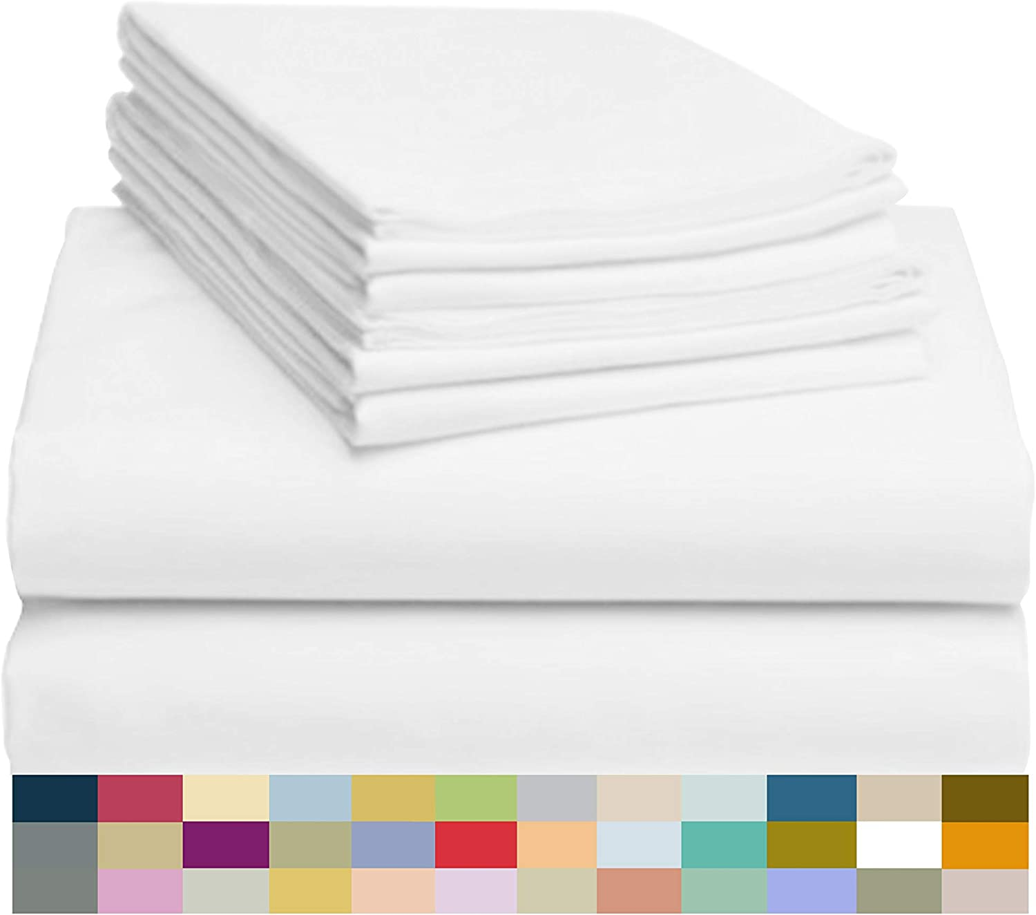 """LuxClub 6 PC Sheet Set Bamboo Sheets Deep Pockets 18"""" Eco Friendly Wrinkle Free Sheets Hypoallergenic Anti-Bacteria Machine Washable Hotel Bedding Silky Soft - White Queen: Home & Kitchen"""