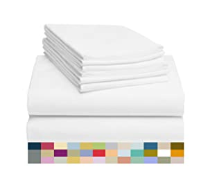 "LuxClub 6 PC Sheet Set Bamboo Sheets Deep Pockets 18"" Eco Friendly Wrinkle Free Sheets Hypoallergenic Anti-Bacteria Machine Washable Hotel Bedding Silky Soft - White Full"