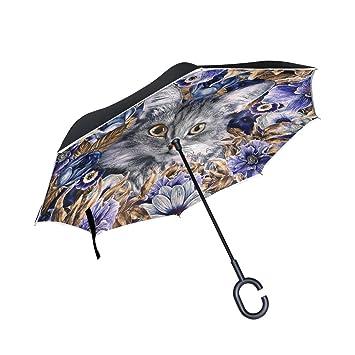 Mnsruu Paraguas invertido de Doble Capa con diseño de Gato y Flor púrpura Plegable, Resistente