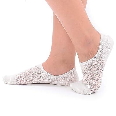 Flammi 4 Pairs Women's No Show Boat Socks Cotton Non Slip Mesh Knit (White) at Women's Clothing store