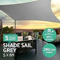 Instahut Sun Shade Sail Cloth Shadecloth Outdoor Canopy Awning Rectangle 280gsm 5x6m-Grey