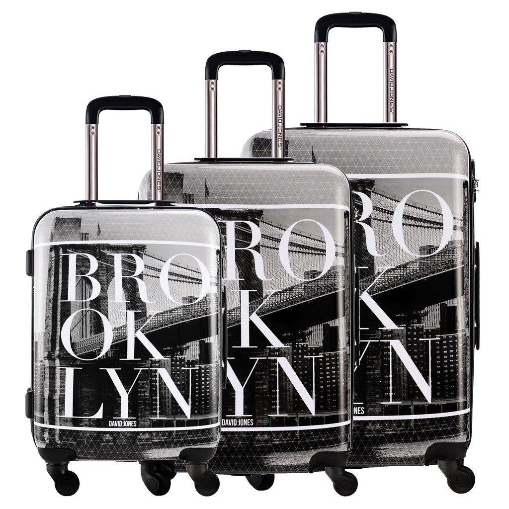 DAVIDJONES 3 Piece Luggage Set Hardside Spinner Suitcase Set for Travel Business - Brooklyn by David Jones