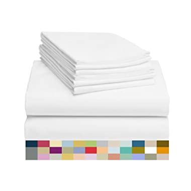 LuxClub 6 PC Sheet Set Bamboo Sheets Deep Pockets 18  Eco Friendly Wrinkle Free Sheets Hypoallergenic Anti-Bacteria Machine Washable Hotel Bedding Silky Soft - White Queen