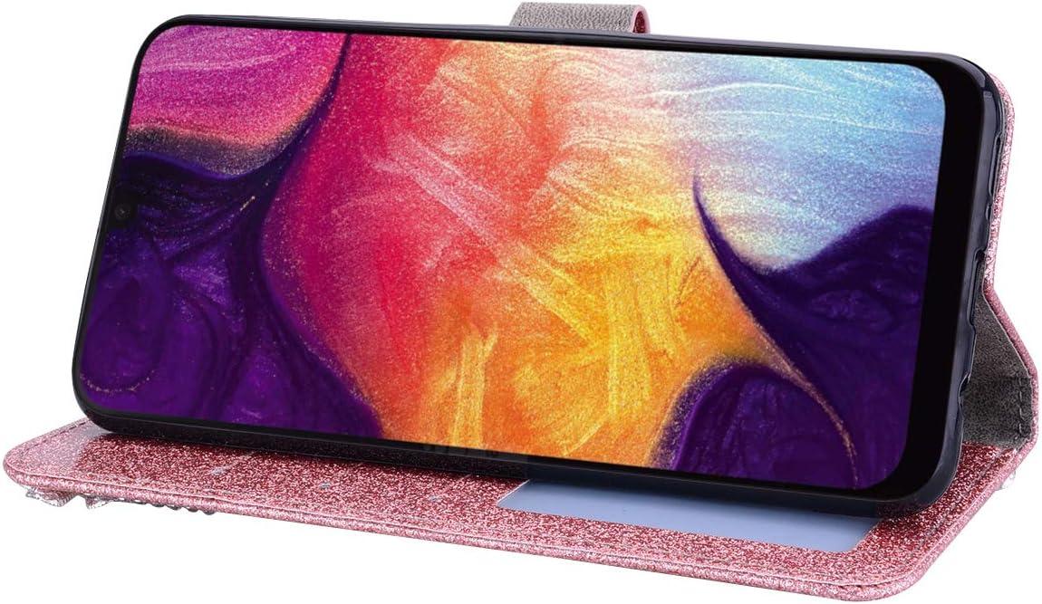 SEEYA Coque pour Samsung Galaxy A21s Portefeuille Etui /à Rabat Housse avec Porte Cartes Paillette Strass C/œur Fleur Magn/étique Clapet Pochette /Étui Antichoc Folio Case Glitter Violet
