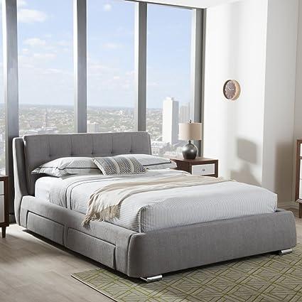 Amazon Com Baxton Studio Camile King Storage Platform Bed In Gray