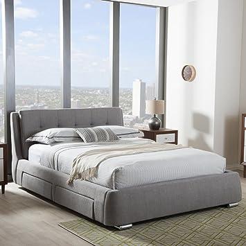 Baxton Studio Camile King Storage Platform Bed In Gray