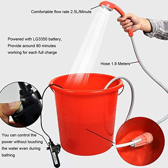 Handheld Cordless Mini Electric Portable Camping Shower Rechargeable Water Pump