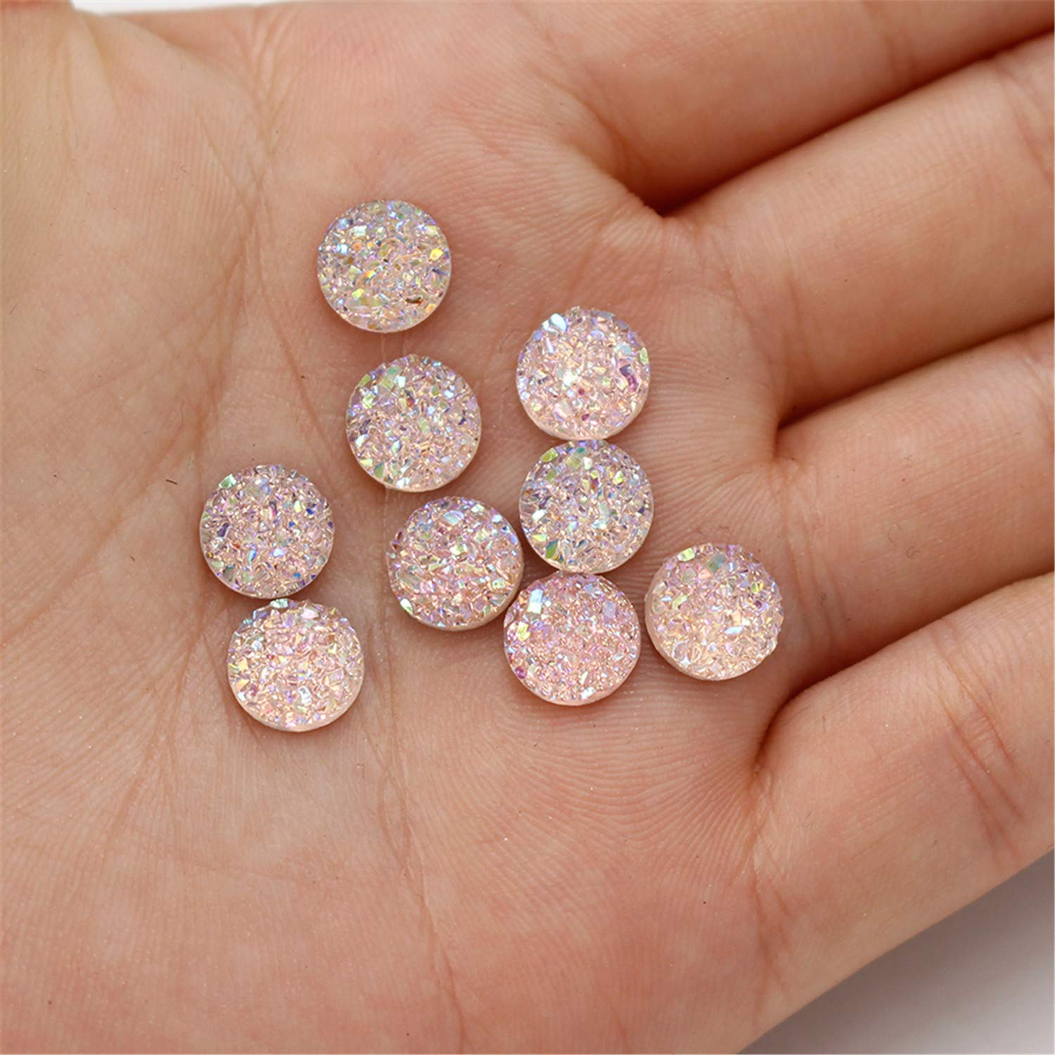 Alysee 200 Pieces Multi-color Round Resin Cabochon Flatback Druzy Iridescent Colorful Cabochons DIY Accessories 10mm