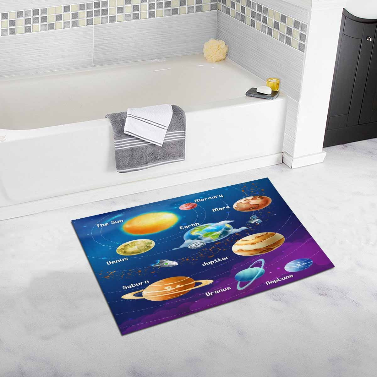 InterestPrint Solar System of Planets Luxury Microfiber Washable Bath Rug For Floor Bathroom Bedroom Living Room