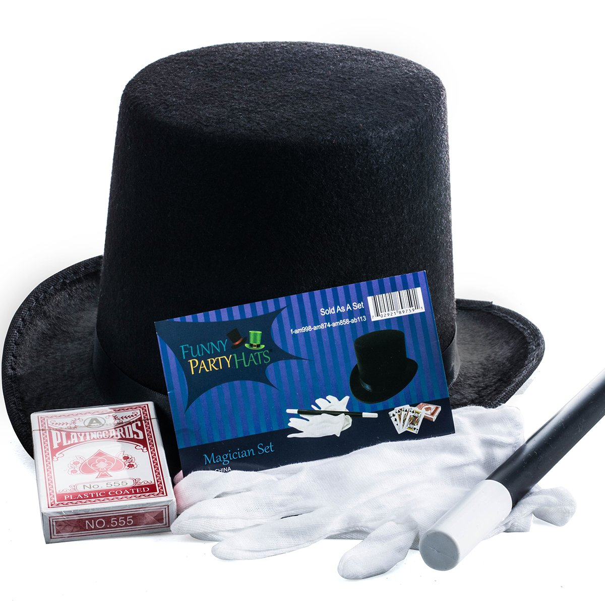 Magician Costume - 4 Pc Set, Magician Hat, Wand , Gloves & Bonus Cards - Magician Kit for Kids Funny Party Hats by Funny Party Hats (Image #7)