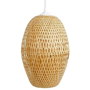 Schlafzimmerlampe Kon Tum, Lampe aus Bambus als Hängelampe ...