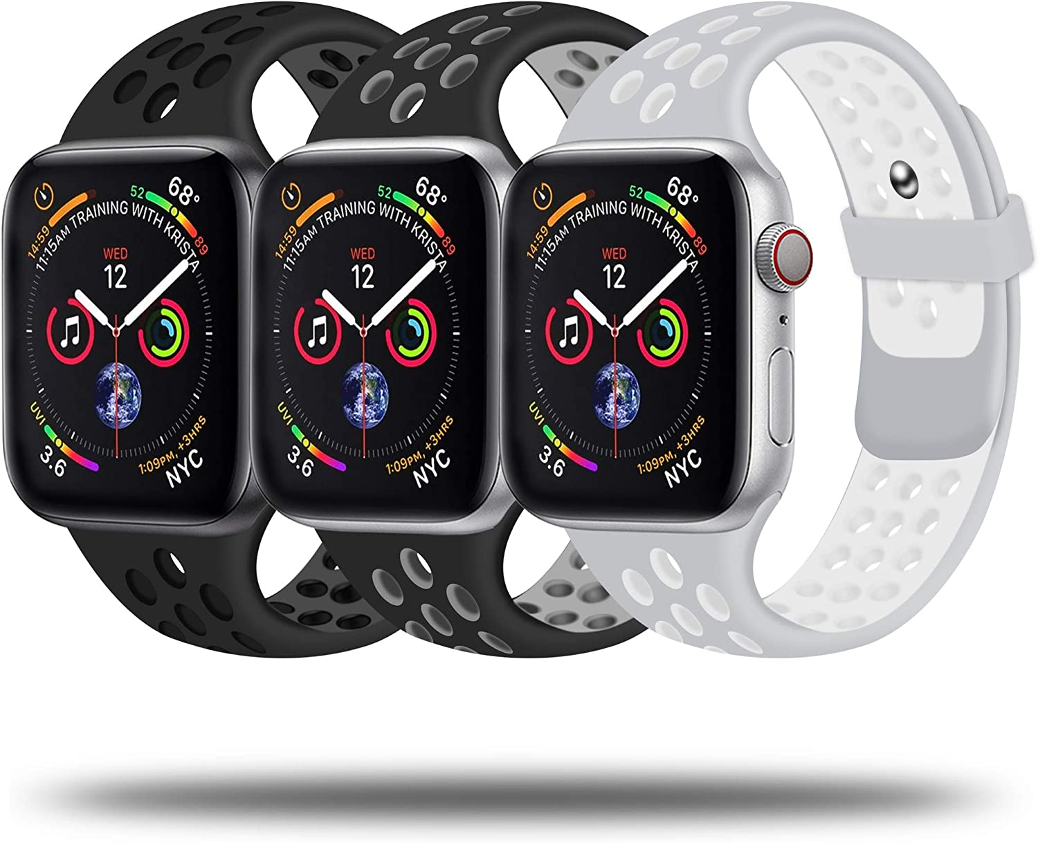 JuQBanke Sport Bands 3 Pack Compatible for Apple Watch Band 38mm 40mm 42mm 44mm, Soft Silicone Sport Replacement Wristband Compatible with iWatch Series 1/2/3/4/5/6/SE