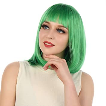 Free Wig Cap eNilecor Short Bob Hair Wigs 12 Straight with Flat Bangs Colorful Synthetic Cosplay Daily Party Wig for Women Natural As Real Hair Wine Red