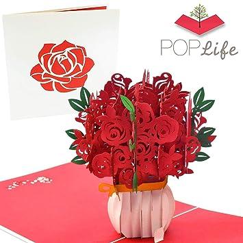 Amazon.com: PopLife - Tarjeta 3D con diseño de rosas rojas ...