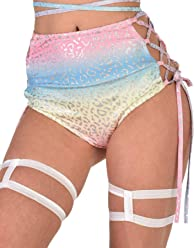 0dc6286e iHeartRaves Women's High Waisted Rave Booty Shorts Bottoms