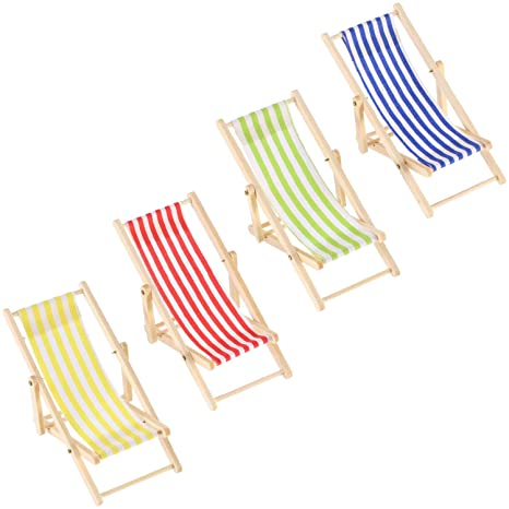 Mini Sdraio Da Spiaggia.4 Pezzi 1 12 Pieghevoli In Legno Spiaggia Sedia Mobili In