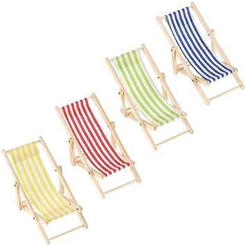 4 Piezas 1:12 Silla de Playa de Madera Plegable de Miniatura ...