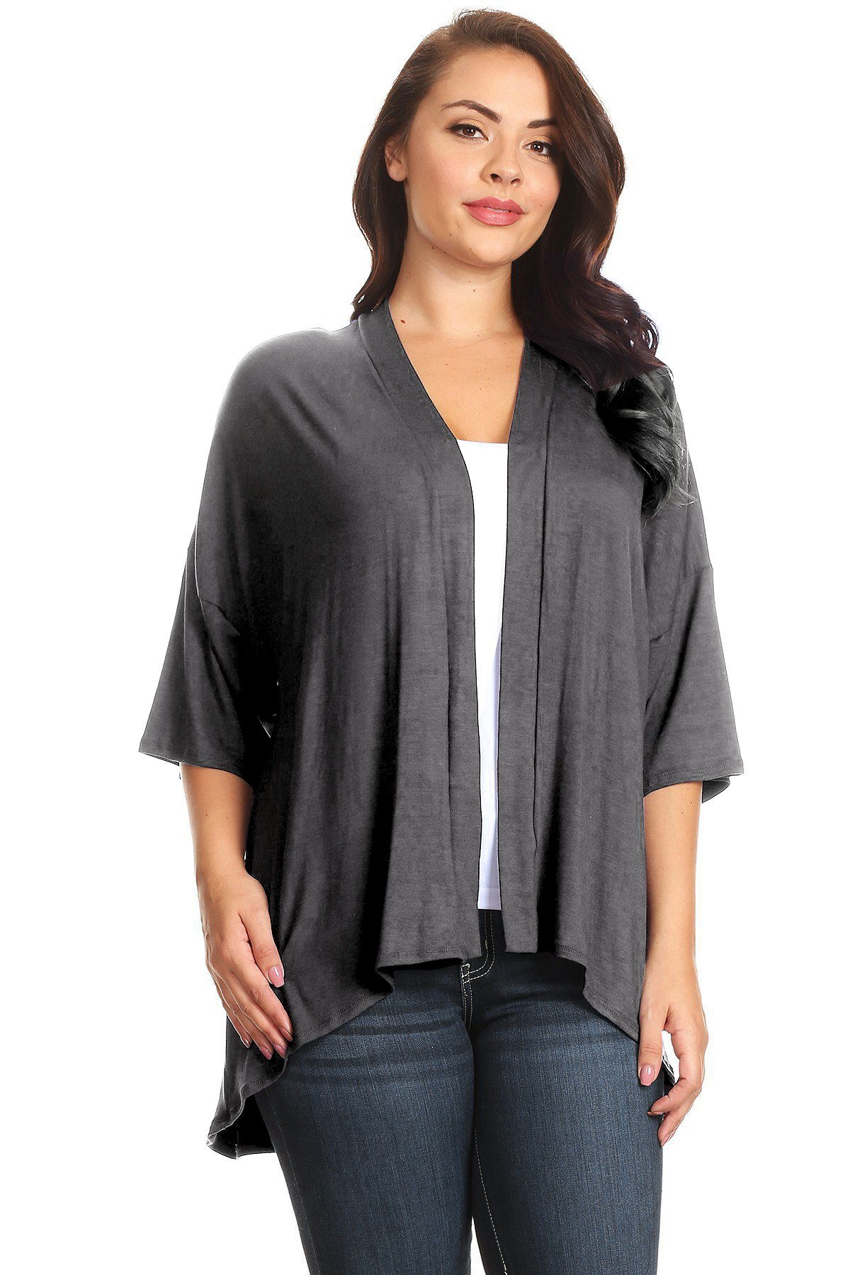 Modern Kiwi Plus Size Solid 3/4 Sleeve Open Front Cardigan Charcoal 3X