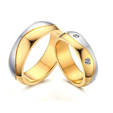 cc9d1c7776 Amazon.com: Daesar 1 Pair Wedding Rings Stainless Steel Ring for Women Men  Silver Gold Ring 6MM Women Size 6 & Men Size 10: Jewelry